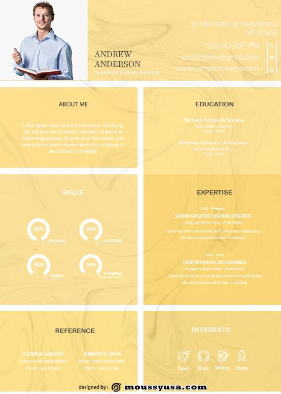 Resume Teacher example psd design
