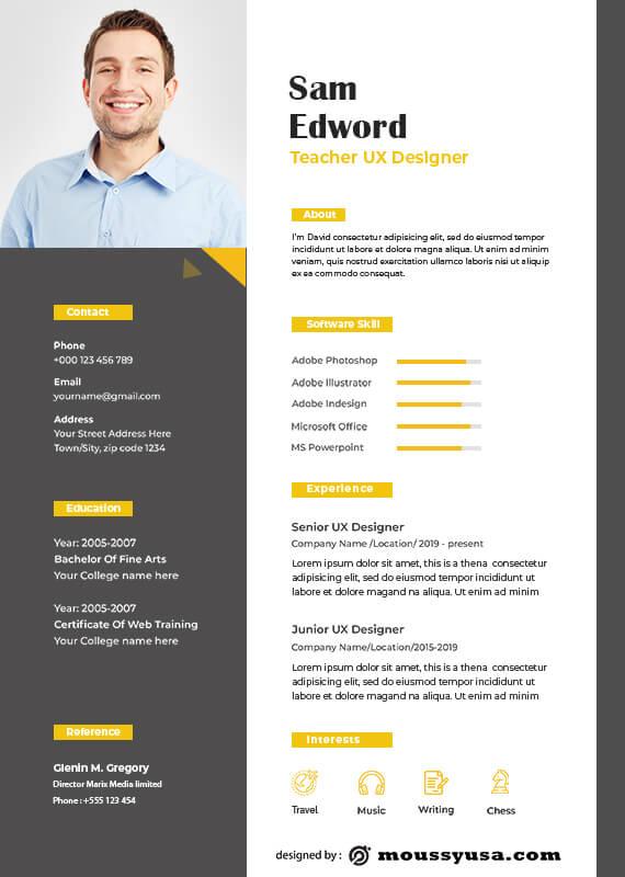 Resume Teacher free psd template