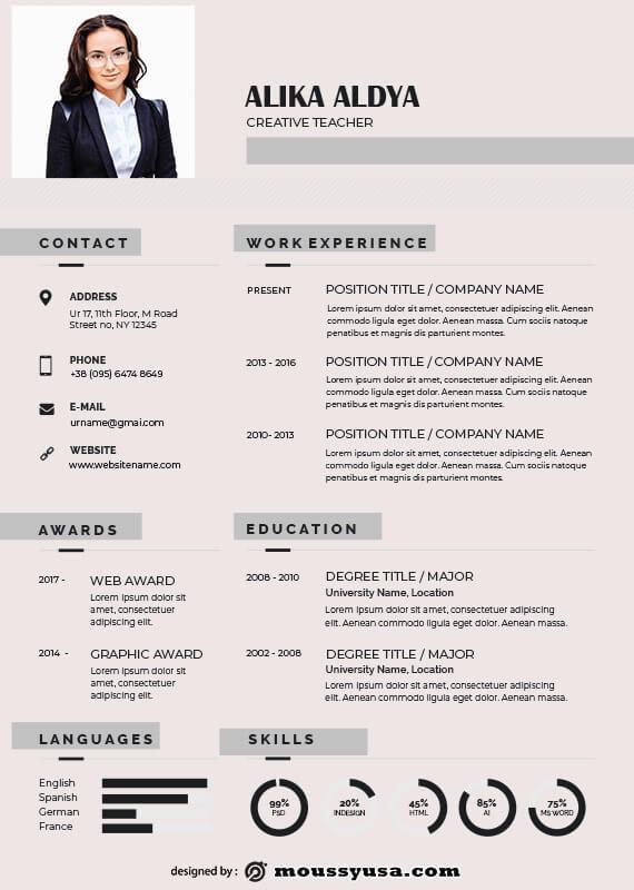 Resume Teacher in psd design