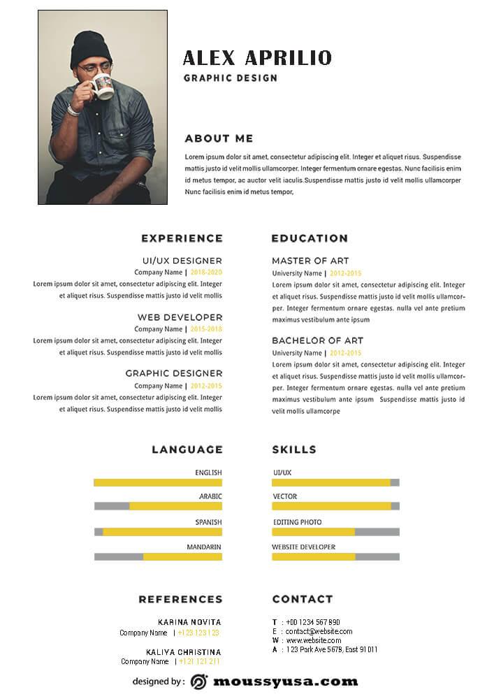 Resume Template customizable psd design template