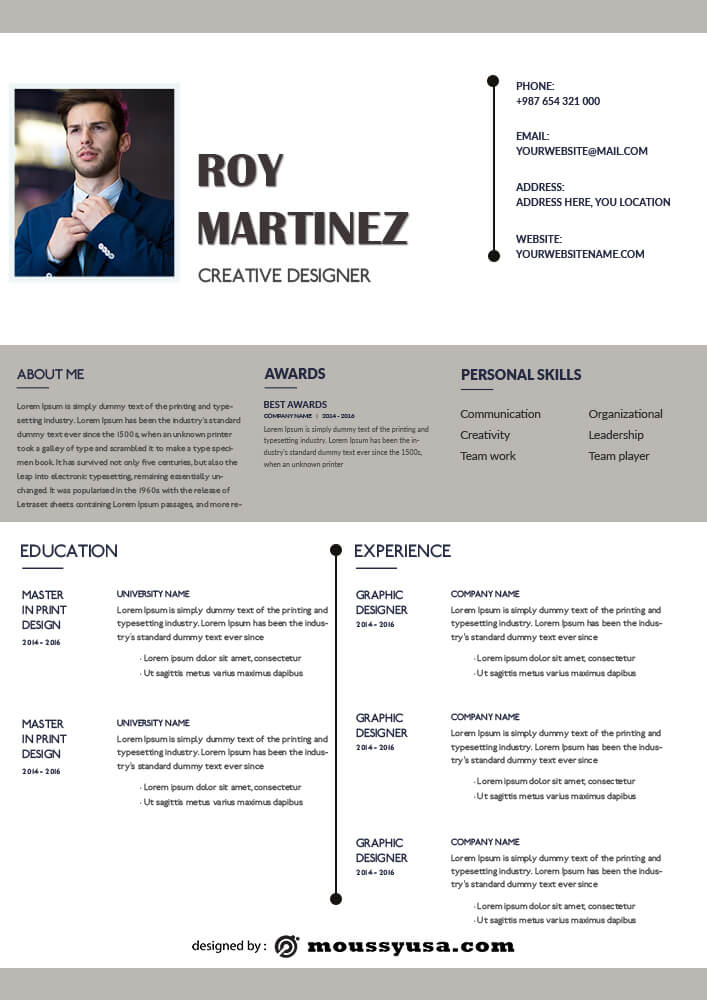 Resume Template example psd design