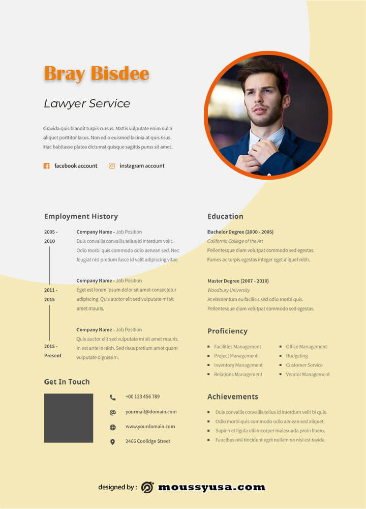 Resume Template in photoshop free download