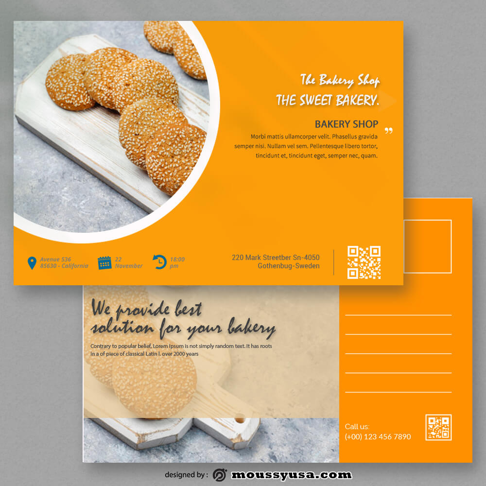 Sample Bakery Postcard templatess