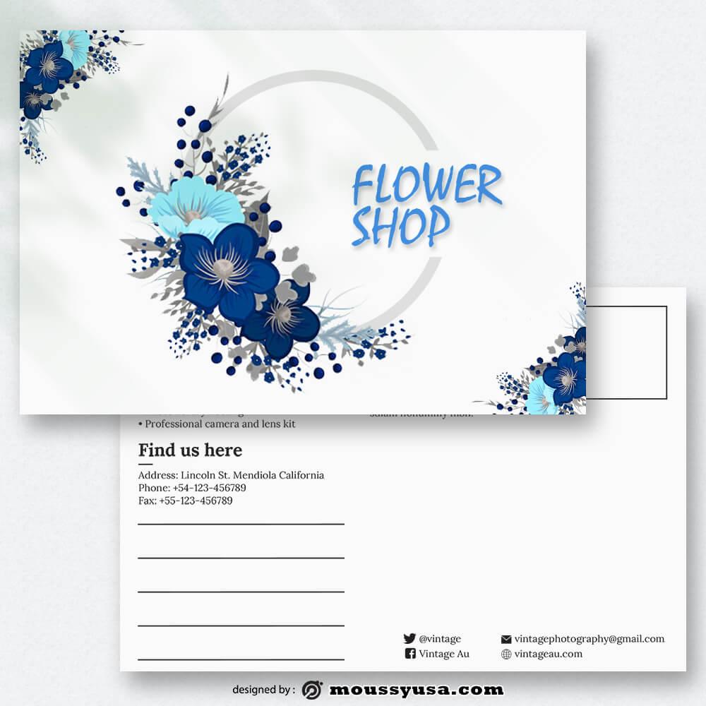 Sample Flower Shop Postcard templatess
