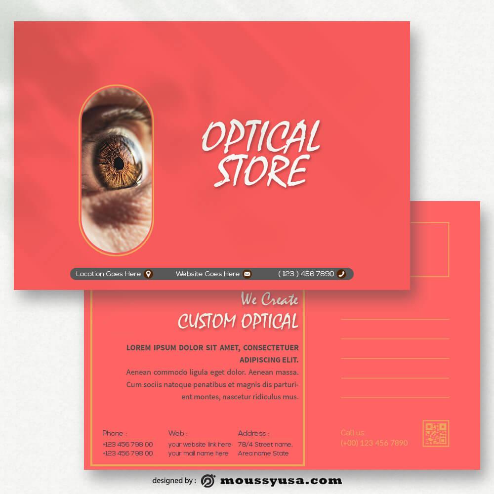 Sample Optical Store Postcard templatess