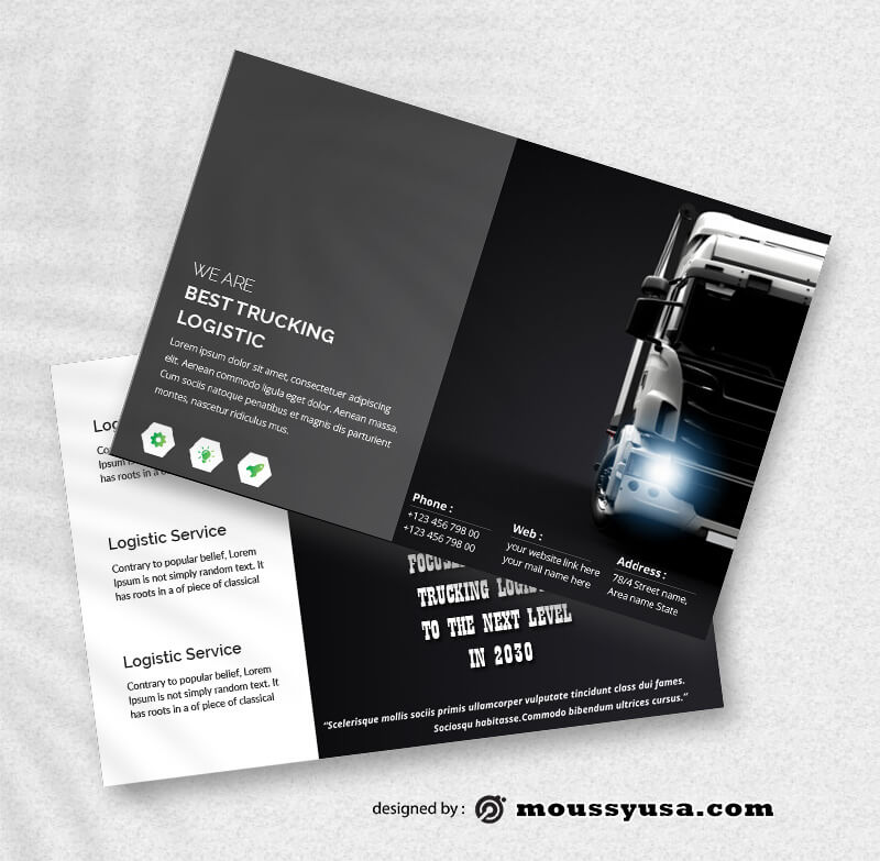 Sample Trucking Logistic Postcard templatess