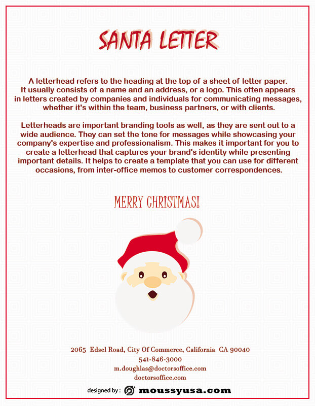 Santa Letter customizable psd design template