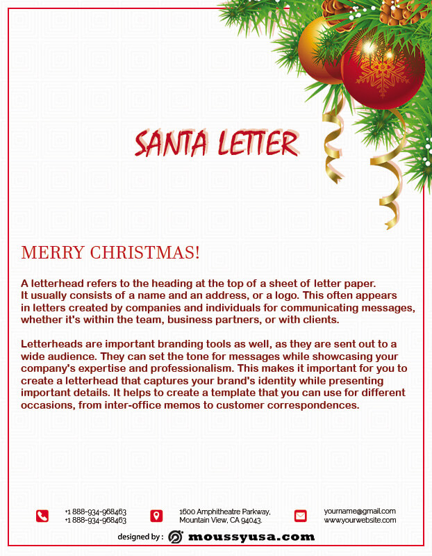 Santa Letter template for photoshop