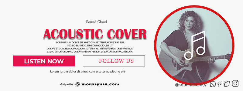 Souncloud Banner customizable psd design template
