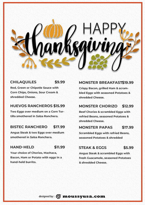 Thanks giving menu in photoshop free download