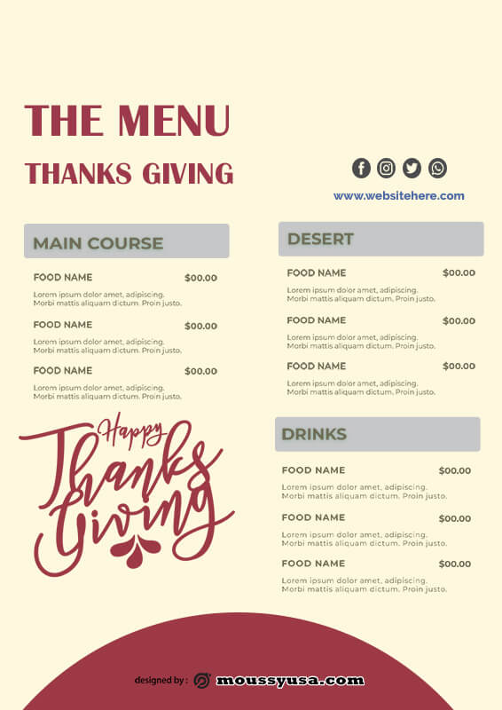 Thanks giving menu in psd design