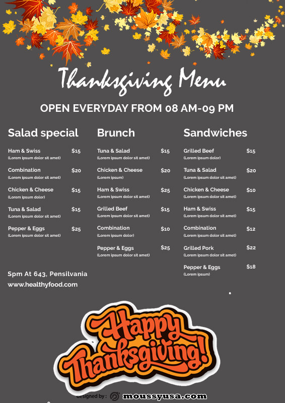 Thanks giving menu template for photoshop