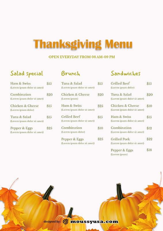 Thanks giving menu template free psd