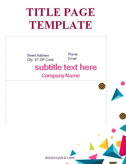 Title Page customizable word design template