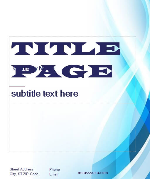Title Page example word design