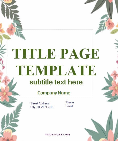 Title Page free download word