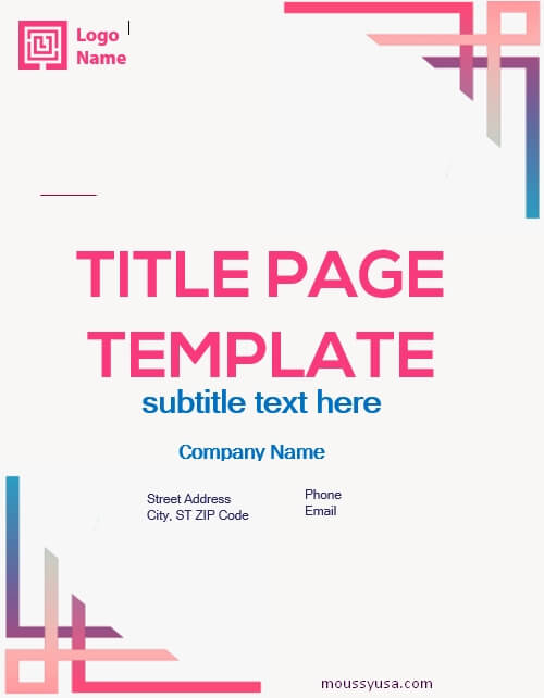 Title Page free word template