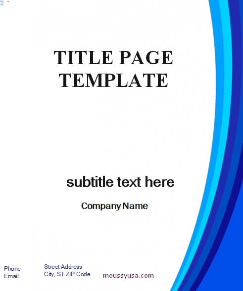 Title Page in word free download
