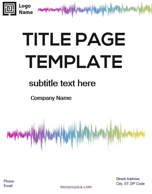Title Page template for word