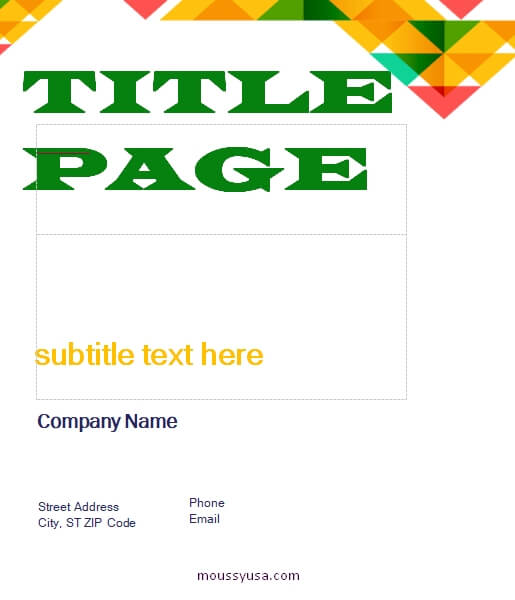 Title Page template free word