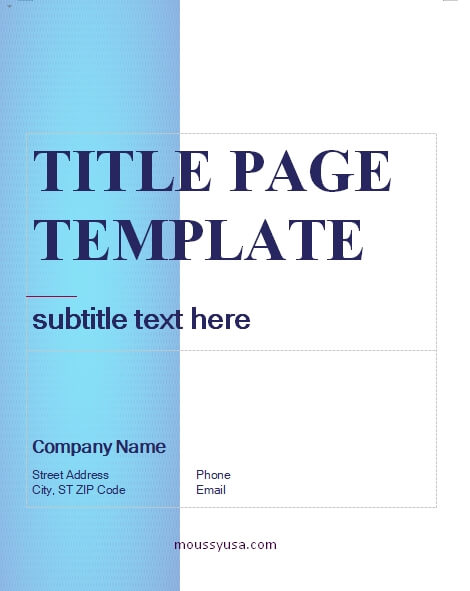 Title Page word template free