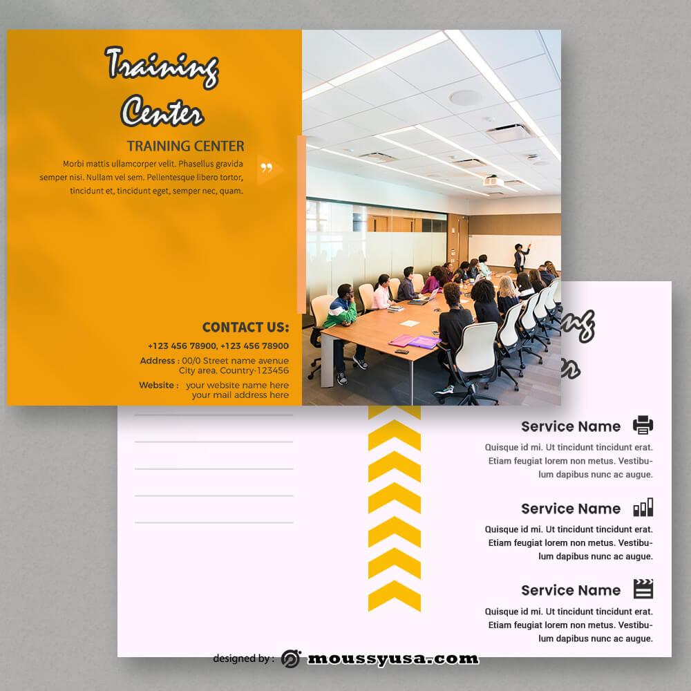 Training Center Postcard templates Example