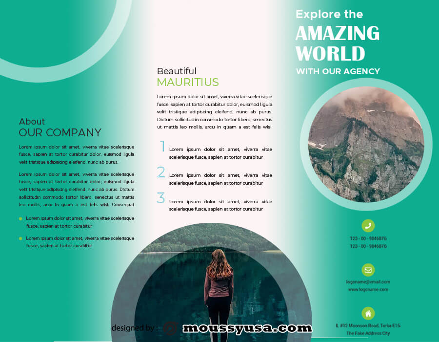 Travel Brochure customizable psd design template