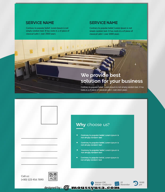 Trucking Logistic Postcard templates Ideas