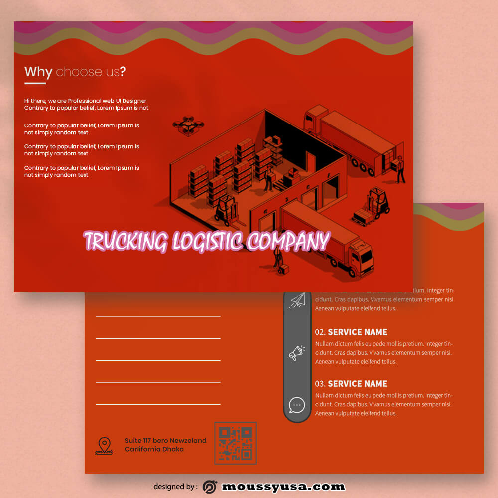 Trucking Logistic Postcard templates Sample