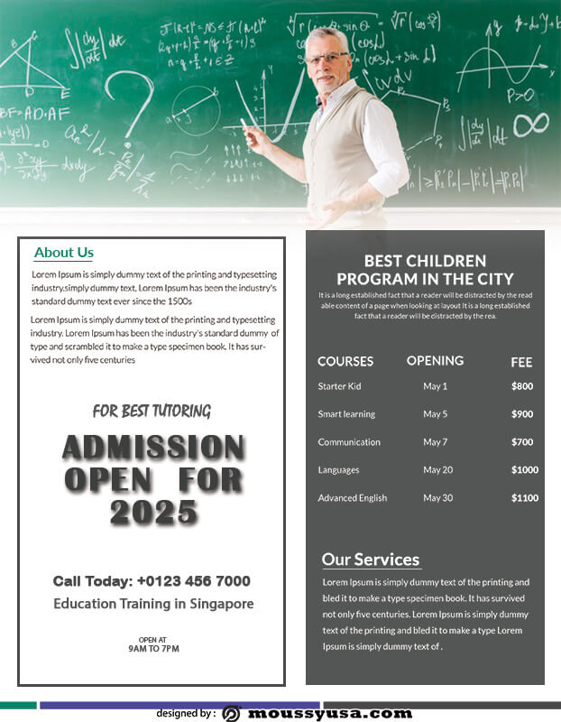 Tutoring Flyers free download psd