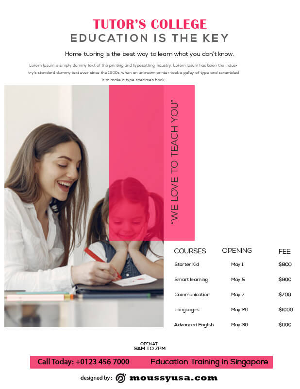 Tutoring Flyers in photoshop free download