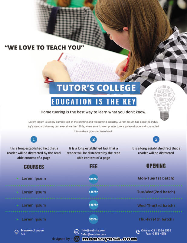 Tutoring Flyers psd template free