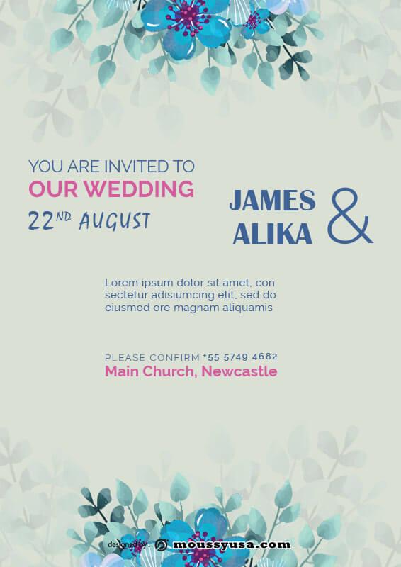 Wedding Invitation customizable psd design template