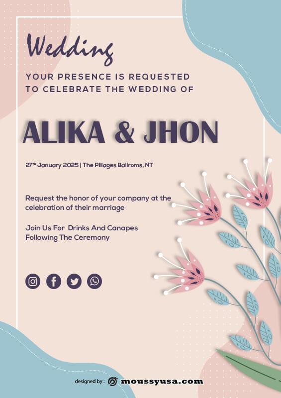 Wedding Invitation template free psd