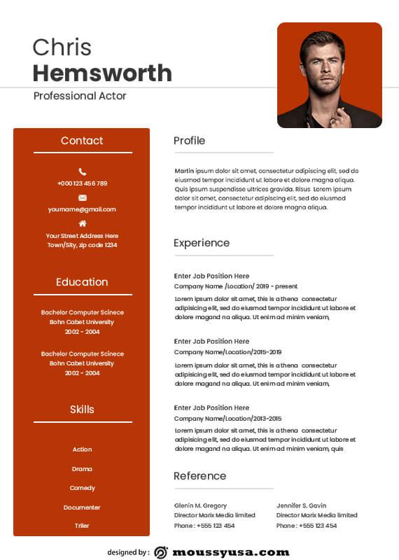 acting resume customizable psd design template