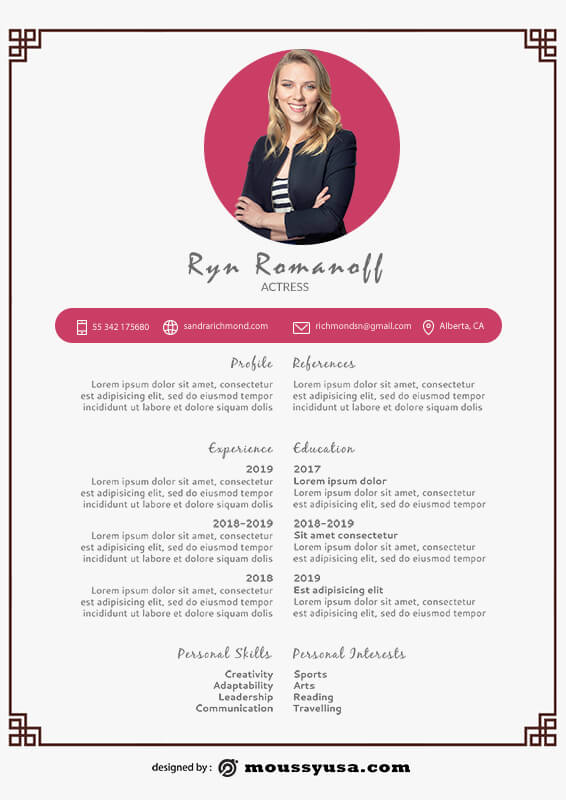 acting resume example psd design