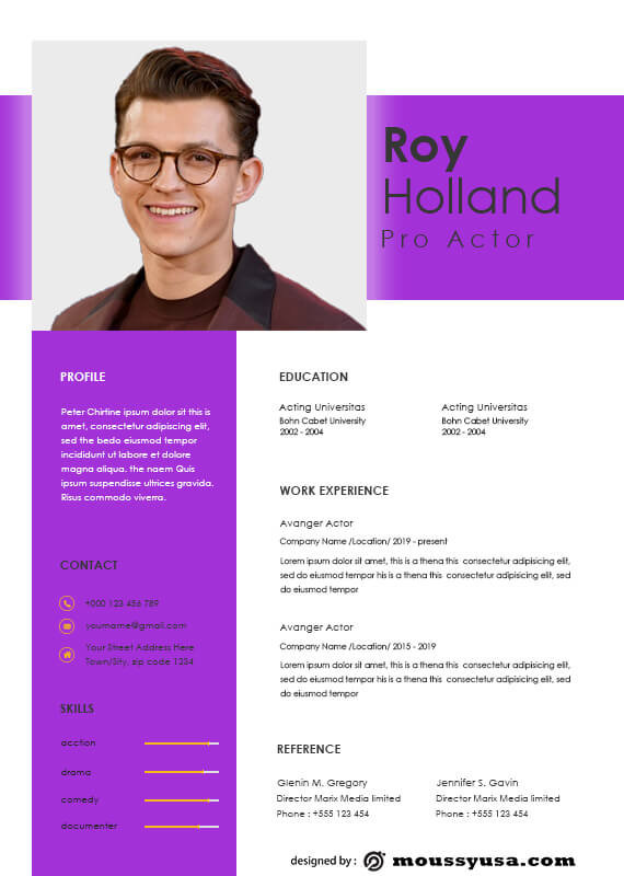acting resume free download psd