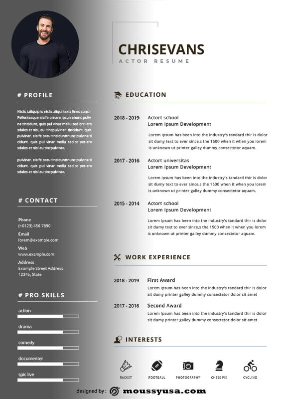 acting resume free psd template