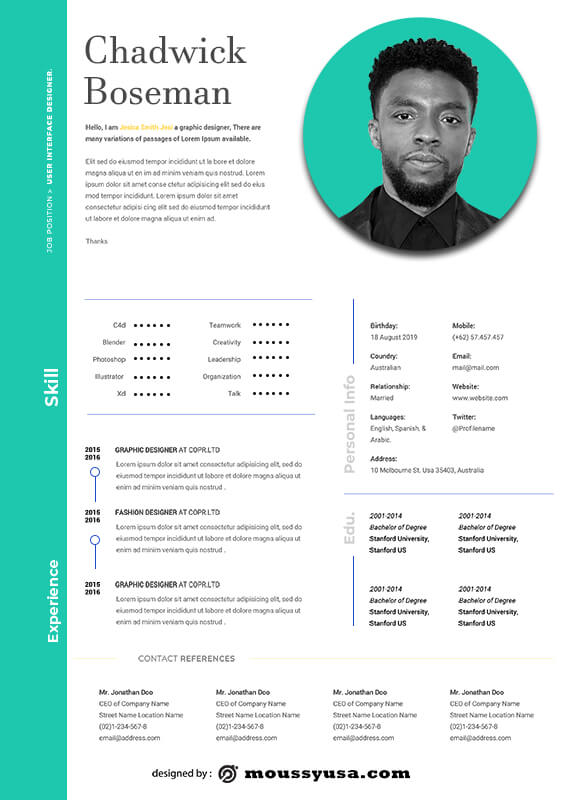 acting resume in photoshop free download