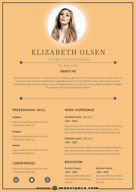 acting resume in photoshop