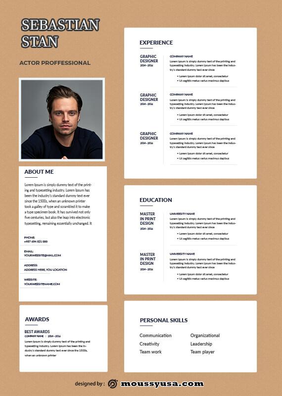 acting resume in psd design