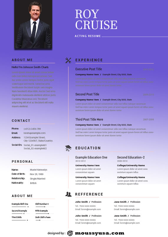 acting resume psd template free