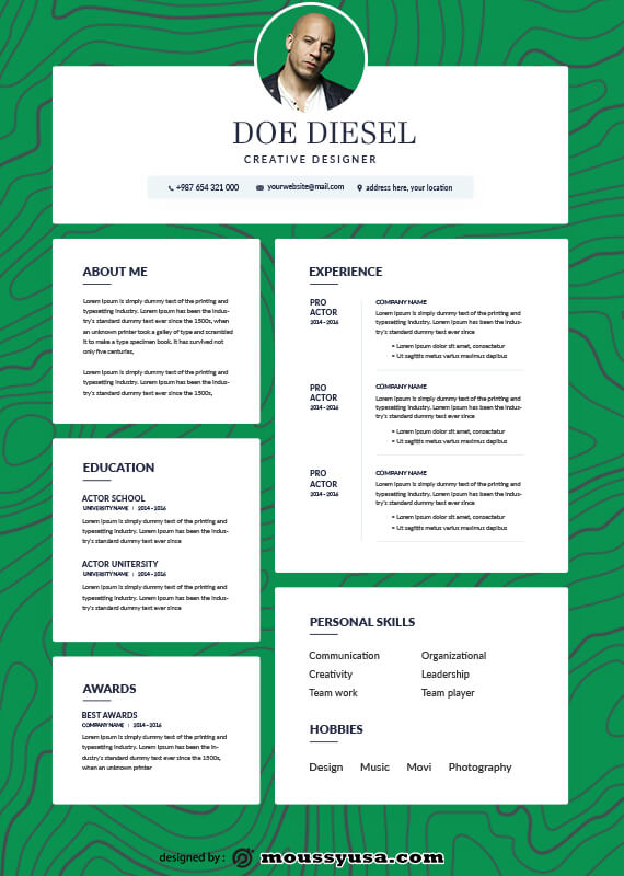 acting resume template for photoshop