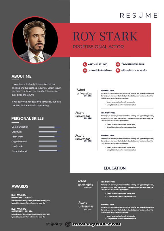 acting resume template free psd