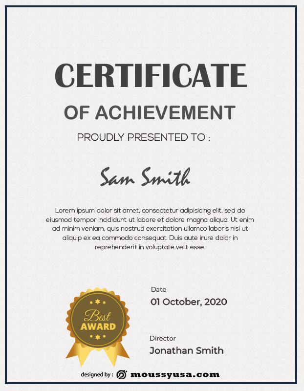 award certificate in psd design