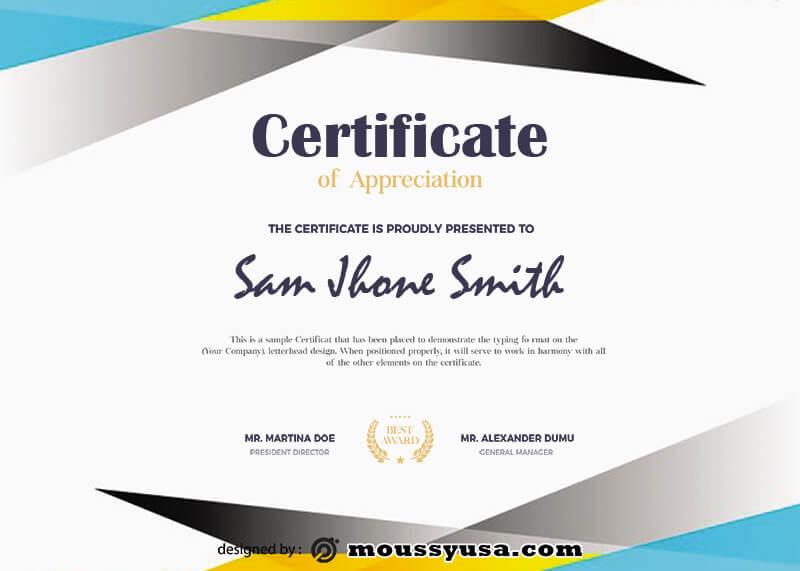award certificate psd template free