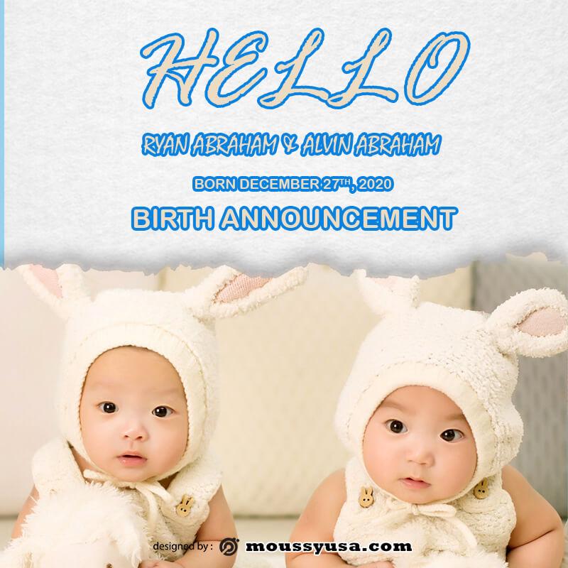 birth announcement customizable psd design template