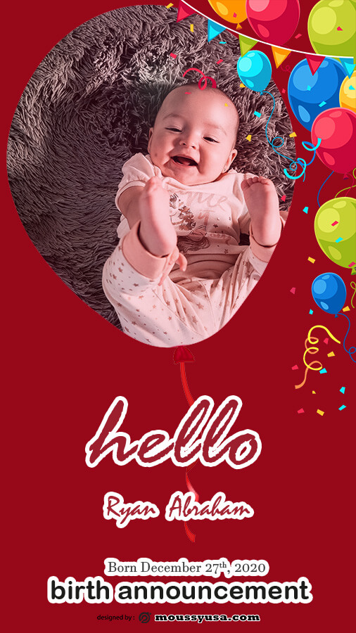 birth announcement example psd design