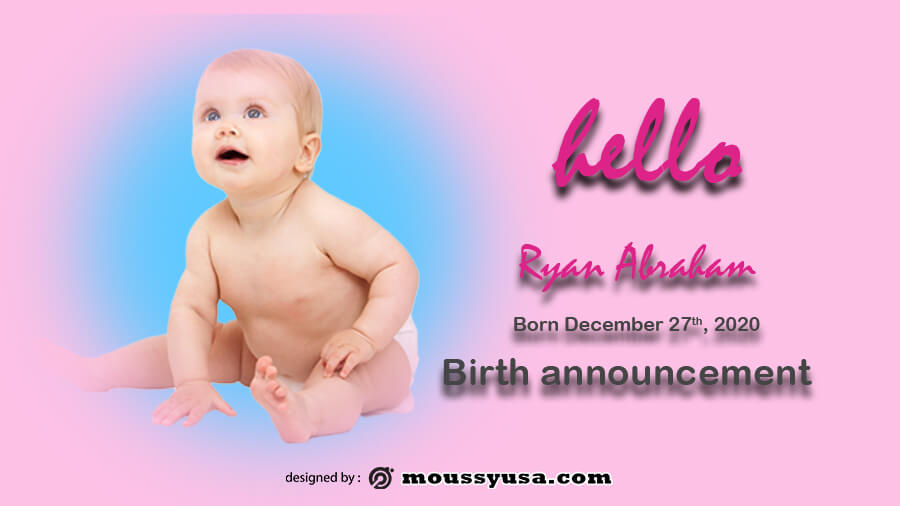 birth announcement free psd template