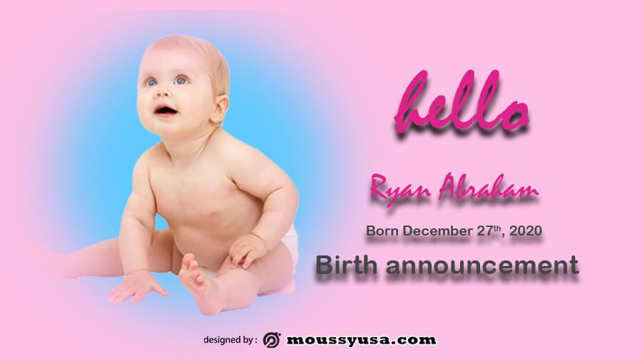 birth announcement free psd template
